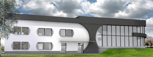 Wizualizacja przebudowy głównego budynku MSP. Elewacja wschodnia.