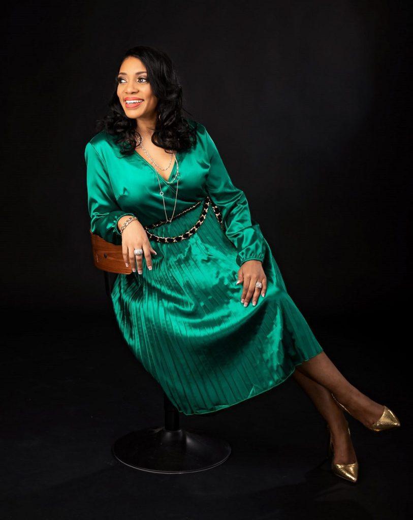 JPixStudio 3057 Green Dress sitting full body