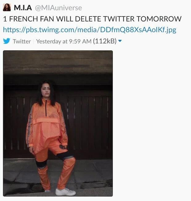 M.I.A. usunęła konto z Twitttera i Instagramu. Dlaczego?
