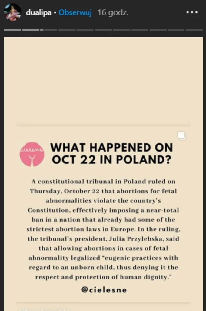 Dua Lipa i Miley Cyrus wspierają Strajk Kobiet w Polsce!