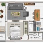 Planta baixa do apartamento de 01 suíte com lavabo, final 01 e 04
