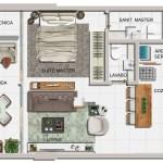 Planta baixa do apartamento de 01 suíte com lavabo, final 02 e 03
