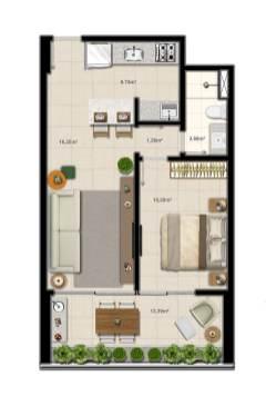 Planta baixa do apartamento quarto e sala com 1 suíte do Duetto Graça