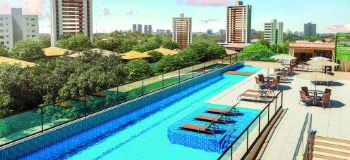 Perspectiva das piscina adulto e infantil com deck molhado