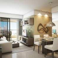 Perspectiva do living - apartamento 2 quartos