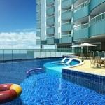 Perspectiva da piscina do Ondina Ocean.