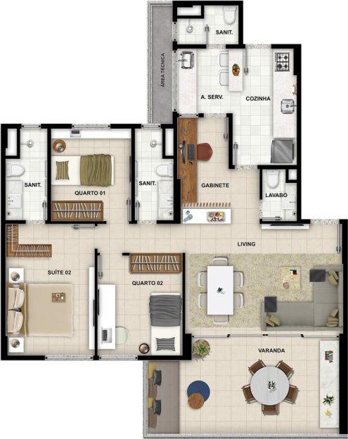 Planta baixa do apartamento tipo 201