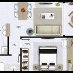 Planta baixa - Quarto e Sala com Varanda - 45 m2 de área privativa