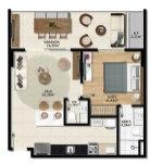 Planta Baixa - Apartamento Quarto com Suíte lavabo e Varanda - Premium Stella Maris