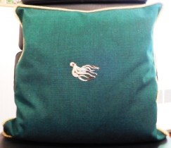 Sunbrella pillow with Octopus embroidery