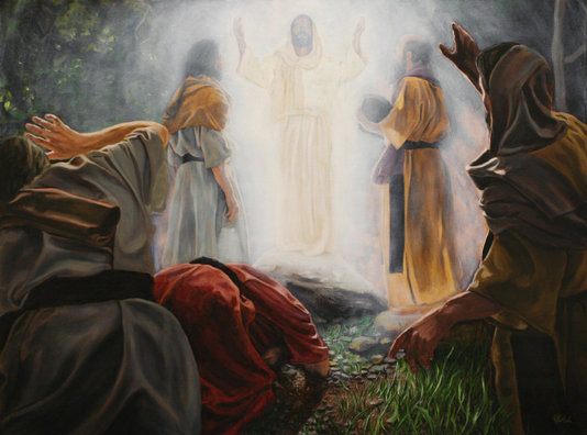 Resultado de imagen de jesus en la montaña en el encuentro con Moises y Elias imagenes