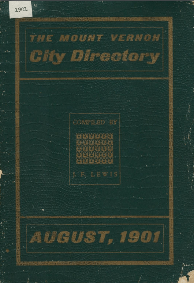 photo of the cover page for the 1901 Mount Vernon City Directory