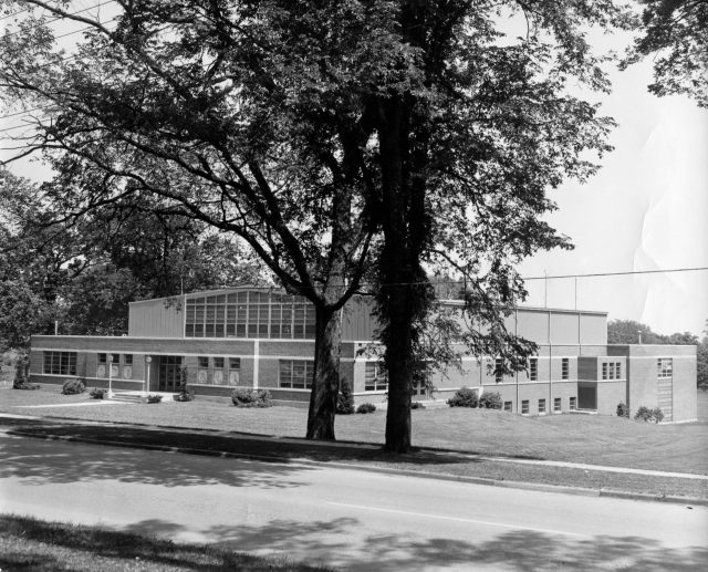 photo of Cornell College field house built in 1953. Note the indoor pool in the rear of the facility. Date @1954