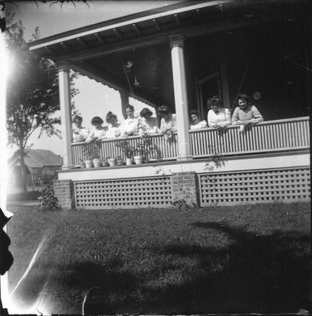 photo of Nine Unidentified Women on a Porch