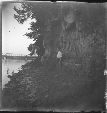 photo of Unidentified Woman by a Cliff on the Cedar River