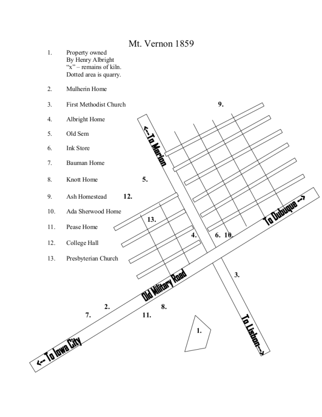 Drawing of map locating 13 brick structures in Mount Vernon 1859