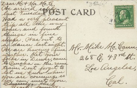 Photo of back of King Chapel Postcard
