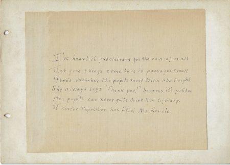 Photo of poem about Mount Vernon High School teacher Ethel MacKenzie
