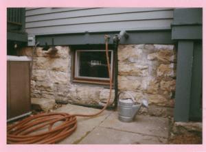 Photo of a limestone foundation