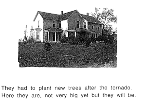 Black and white photo of a farmhouse painted white with young saplings around it.