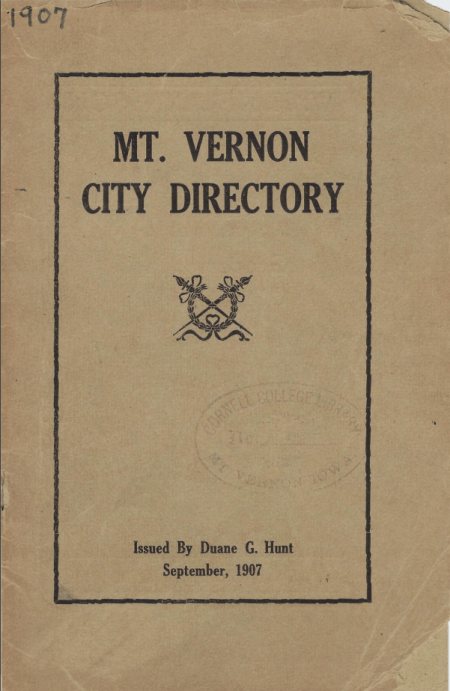 photo of the 1907 City Directory Cover Page