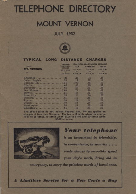Photo of the 1932 MOUNT VERNON TELEPHONE DIRECTORY Cover Page - JULY