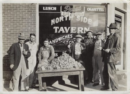 Photo of mushroom hunters in front of Northside Tavern. @ 1939