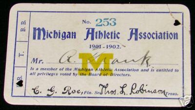 1901 Michigan Football Pass