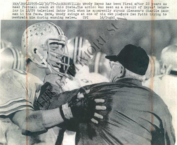 Woody Hayes restrained by Ken Fritz