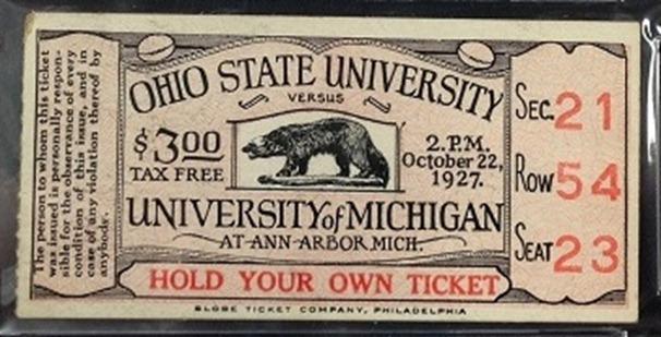 1927 Ohio State Michigan ticket