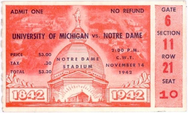 1942 Notre Dame Michigan