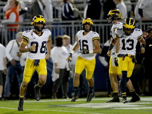 a493529bcdd Penn State PANTS: For the first time since 2014, Michigan wear maize pants  on the road (with the traditional white jersey).