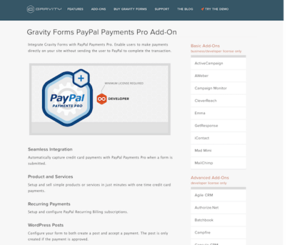 Gravity Forms: PayPal Payments Pro Addon