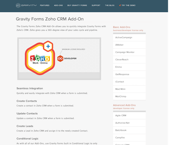 Gravity Forms: Zoho CRM Addon