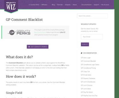 Gravity Perks: Comment Blacklist
