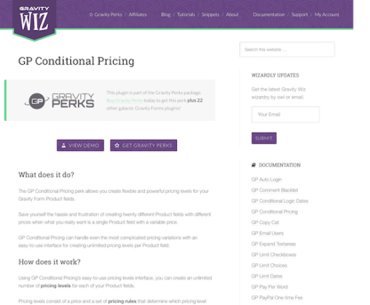 Gravity Perks: Conditional Pricing