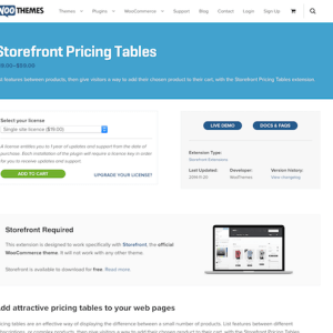 WooThemes – Storefront: Pricing Tables
