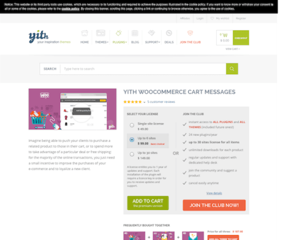 YITH WooCommerce: Cart Messages Premium