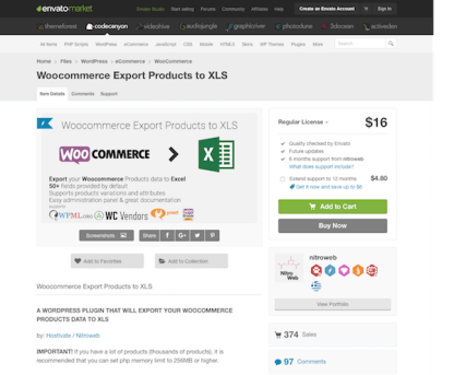 Codecanyon: Woocommerce Export Products to XLS