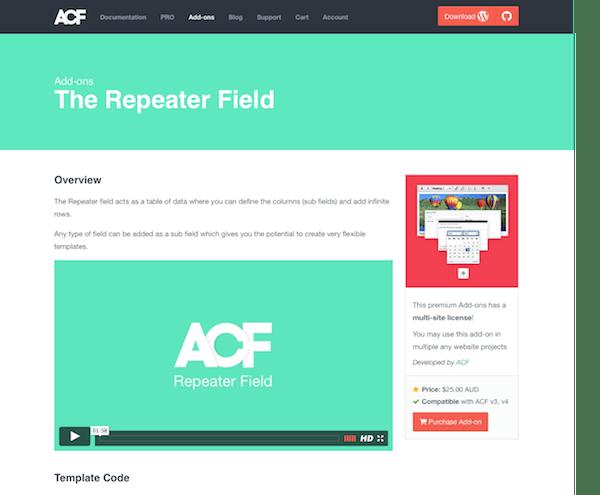 Advanced Custom Fields: Repeater Field