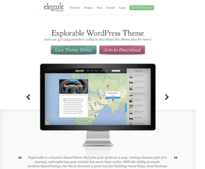 Elegant Themes: Explorable WordPress Theme