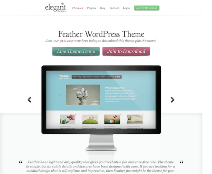 Elegant Themes: Feather WordPress Theme