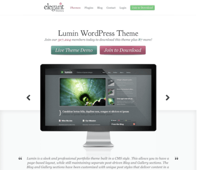 Elegant Themes: Lumin WordPress Theme