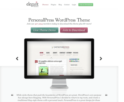 Elegant Themes: PersonalPress WordPress Theme
