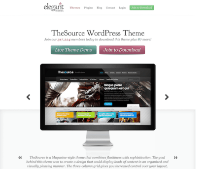 Elegant Themes: The Source WordPress Theme