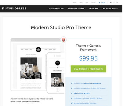 StudioPress: Modern Studio Pro Theme