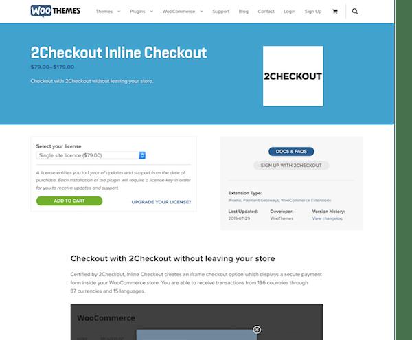 Extensión para WooCommerce: 2Checkout Inline Checkout