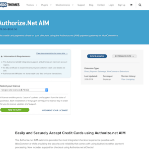 Extensión para WooCommerce: Authorize net AIM Payment Gateway