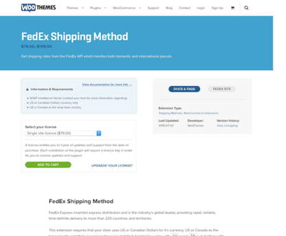 Extensión para WooCommerce: FedEx Shipping Method