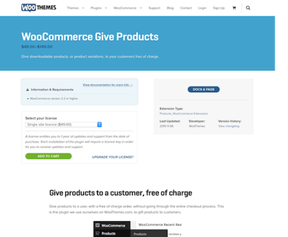 Extensión para WooCommerce: Give Products
